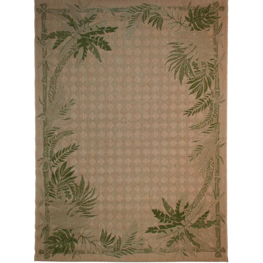 Green Area Rug 8x10: Balta Palm Border Sand And Palm Green Rectangular Indoor
