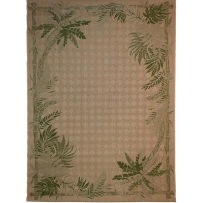 Balta Palm Border Sand And Palm Green Rectangular Indoor