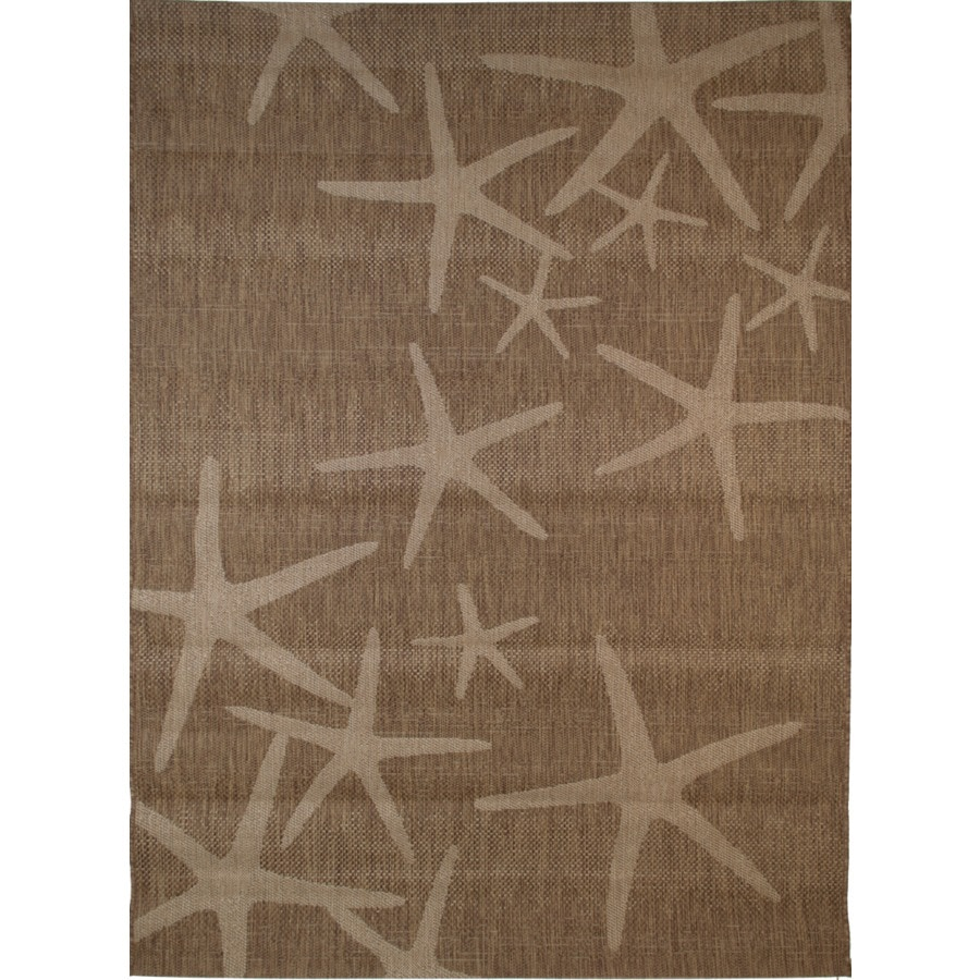 Balta Star Fish Chestnut and Grain Rectangular Indoor/Outdoor Machine-Made Coastal Area Rug (Common: 8 x 10; Actual: 94-in W x 120-in L)