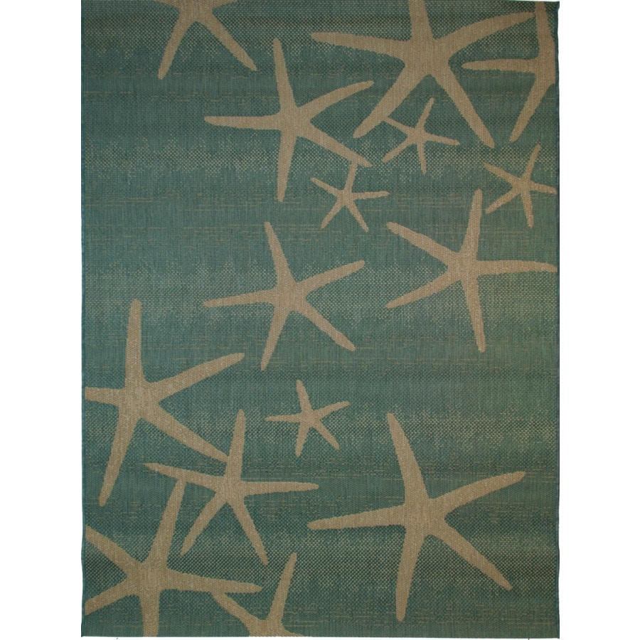 Shop Balta Star Fish Oasis Blue u0026 Sand Rectangular Indoor/Outdoor Machine-Made Coastal Area Rug ...