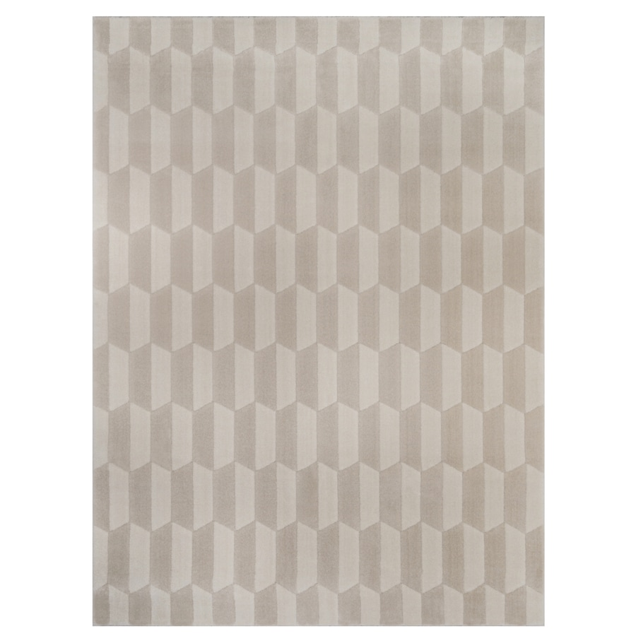 allen + roth Aberlee Tonal Creme and White Rectangular Indoor Machine-Made Inspirational Area Rug (Common: 5 x 7; Actual: 5.25-ft W x 7.22-ft L)