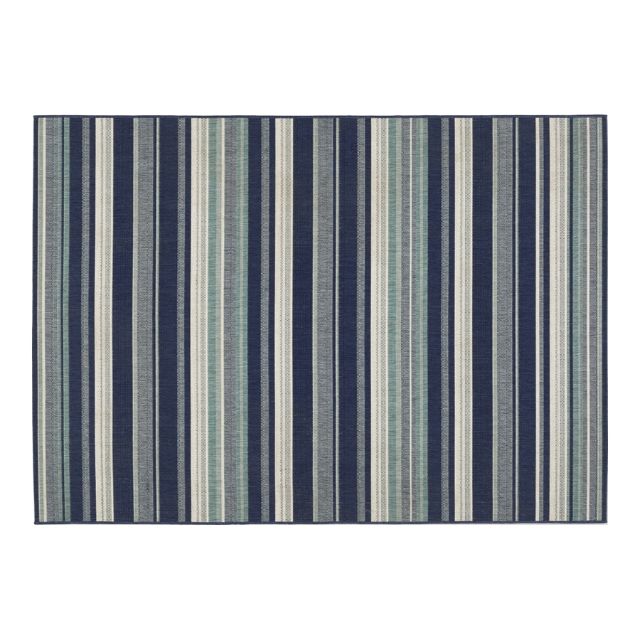Allen + Roth Syden Oasis Blue Rectangular Indoor/Outdoor Machine Made  Coastal Area Rug
