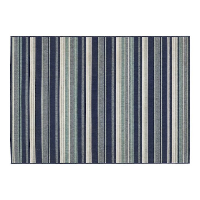 Allen Roth Syden 5 X 7 Oasis Blue Indoor Outdoor Stripe Coastal Area Rug In The Rugs Department At Lowes Com