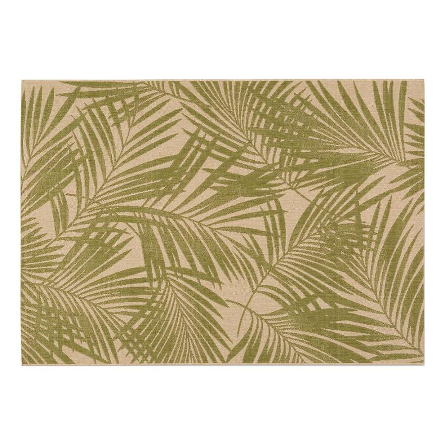Garden Treasures Pultney Essenza Green/Sand Rectangular Indoor/Outdoor  Machine Made Tropical Area