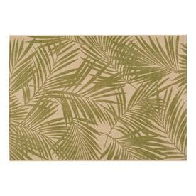 Garden Treasures Pultney Essenza Green Sand Rectangular Machine Made Tropical Area Rug