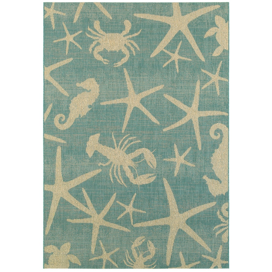 8x10 Indoor Outdoor Area Rugs: Shop Garden Treasures Sumburg Oasis Blue Rectangular