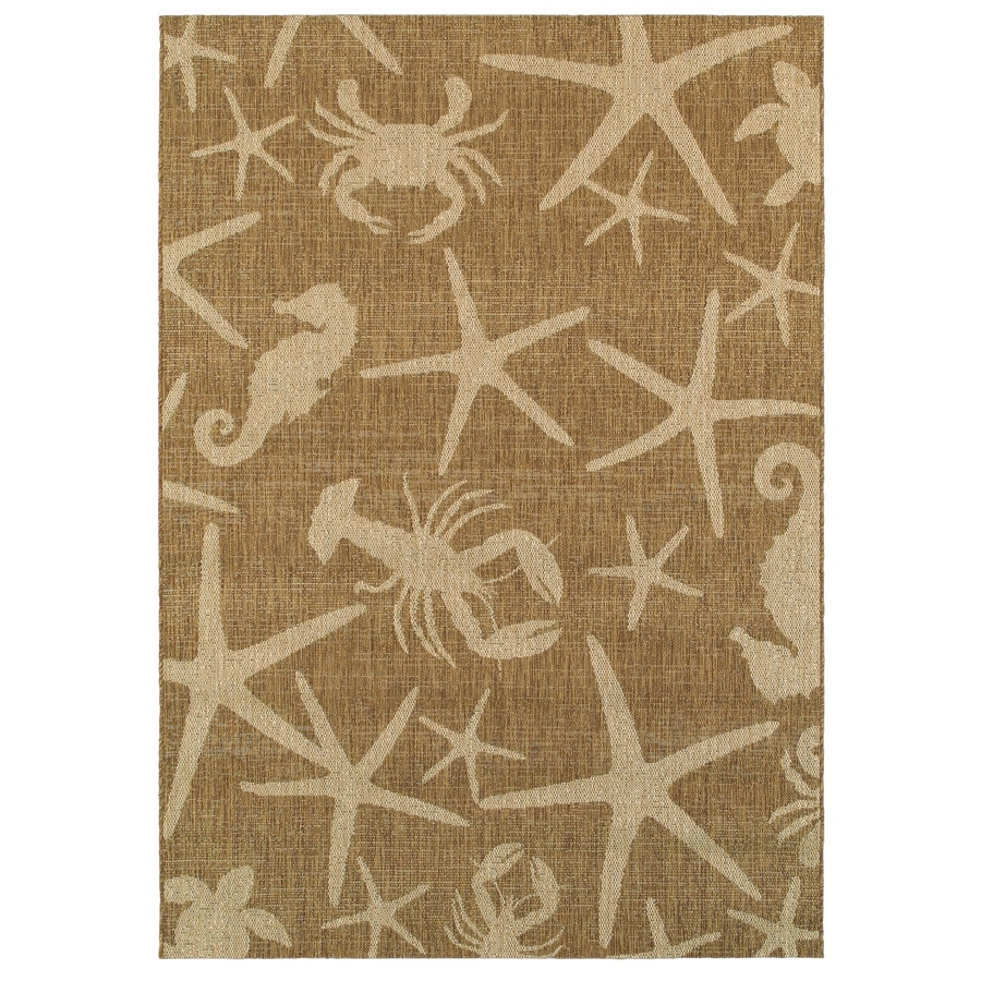 Garden Treasures Sumburg Grain/Chestnut Rectangular Indoor/Outdoor Machine-Made Coastal Area Rug (Common: 5 x 7; Actual: 5.25-ft W x 7.38-ft L)
