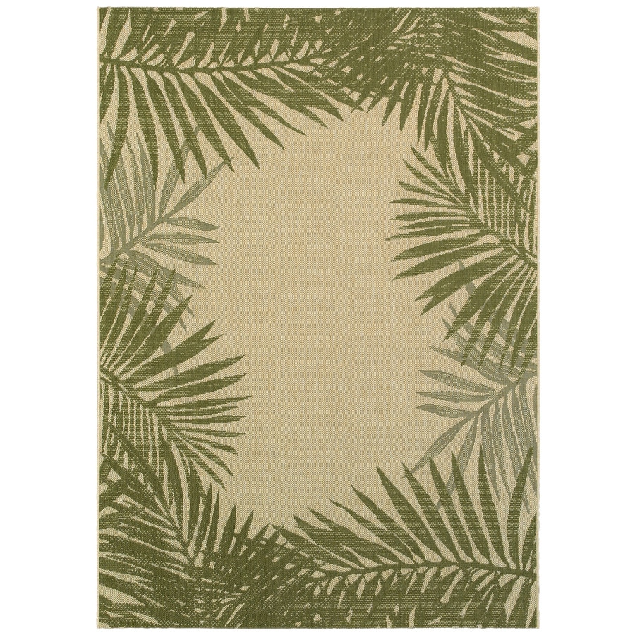Garden Treasures Souderton Sand/Palm Green Rectangular Indoor/Outdoor Machine-Made Tropical Area Rug (Common: 5 x 7; Actual: 5.3-ft W x 7.4-ft L)