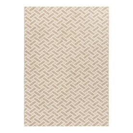 allen + roth Neutral Basketweave 8x10 Brown Rectangular Indoor/Outdoor Machine-Made Area Rug (Common: 8 x 10; Actual: 8-ft W x 10-ft L)