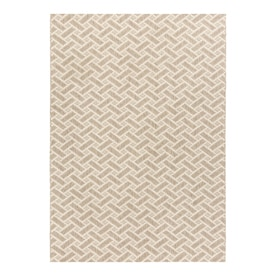 allen + roth Neutral Basketweave 5x7 Brown Rectangular Indoor/Outdoor Machine-Made Mid-Century Modern Area Rug (Common: 5 x 7; Actual: 5-ft W x 7-ft L)