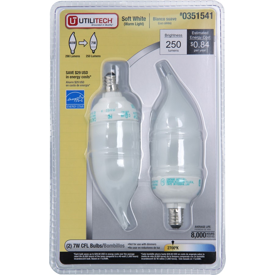 Utilitech 2-Pack 7-Watt (40W) Candelabra Base Soft White (2700K) Decorative CFL Bulbs ENERGY STAR