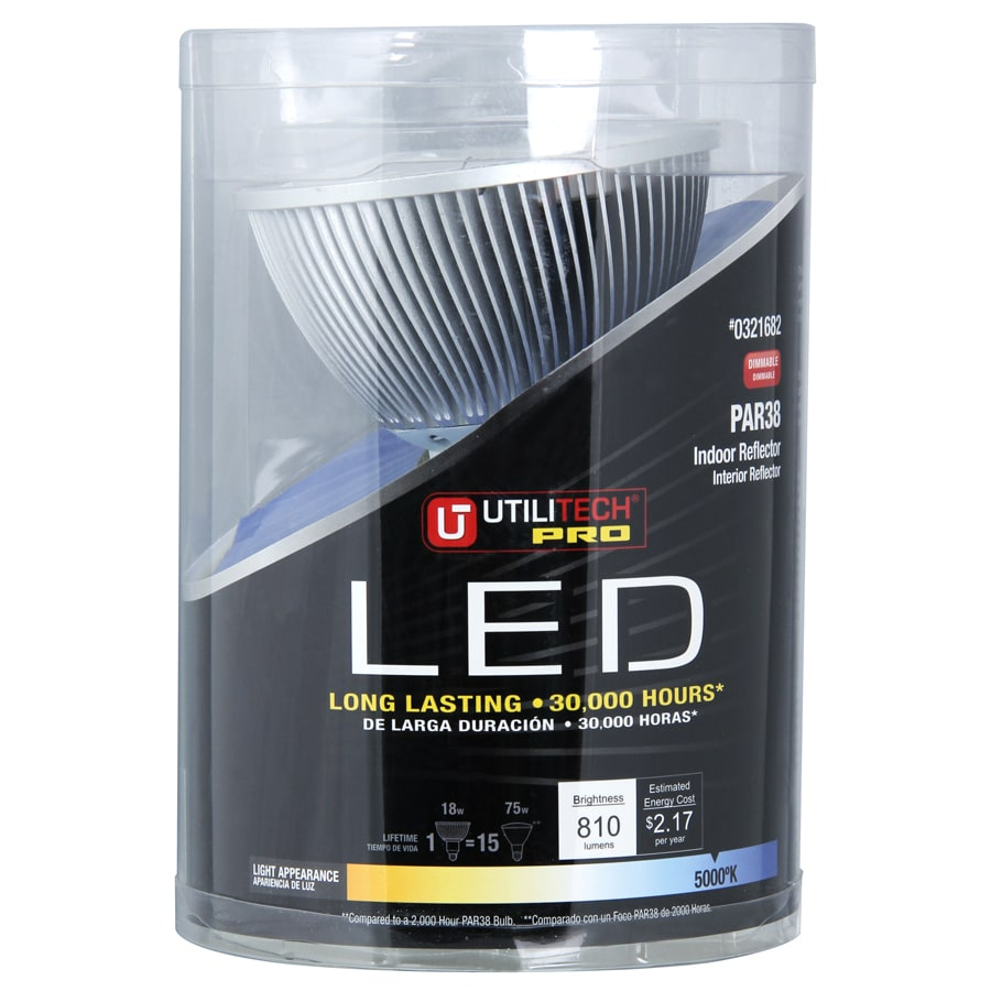 Utilitech 75W Equivalent Dimmable Daylight Par38 LED Flood Light Bulb