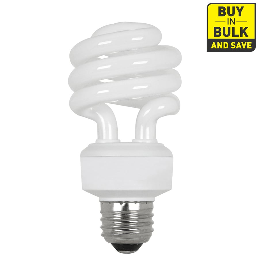 Utilitech 4-Pack 18-Watt (75W Equivalent) Spiral Medium Base Bright White (3500K) CFL Bulbs ENERGY STAR