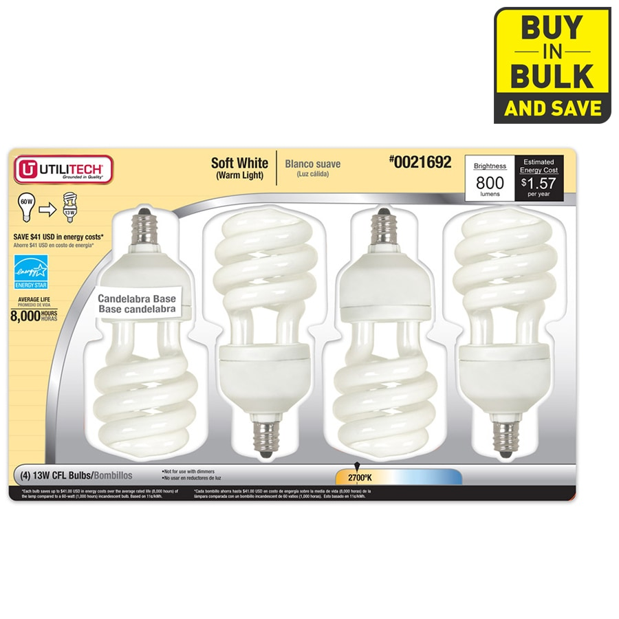 Utilitech 4-Pack 60W Equivalent Soft White CFL Decorative Light Bulbs