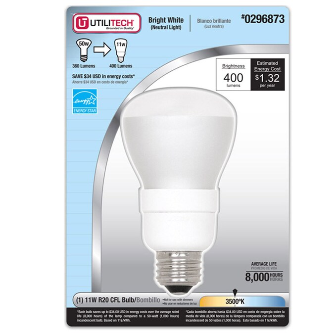 Utilitech 50 W Equivalent Bright White R20 Cfl Flood Light