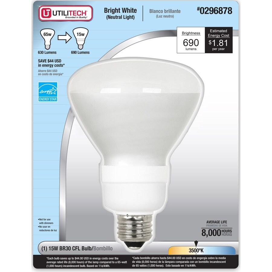Utilitech 15-Watt (65W) BR30 Medium Base Bright White (3500K) CFL Bulb ENERGY STAR
