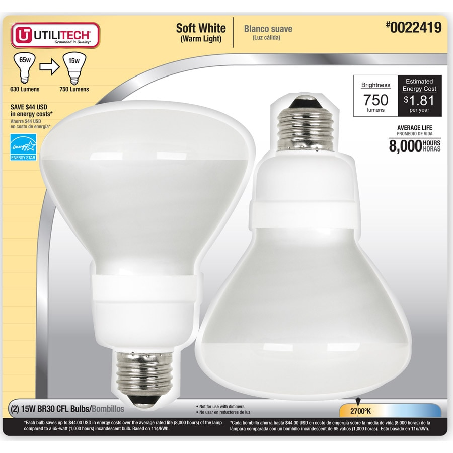 Utilitech 2-Pack 15-Watt (65W) BR30 Medium Base Soft White (2700K) CFL Bulbs ENERGY STAR