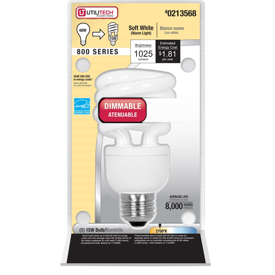 Utilitech 60W Equivalent Dimmable Soft White CFL Light Fixture Light Bulb