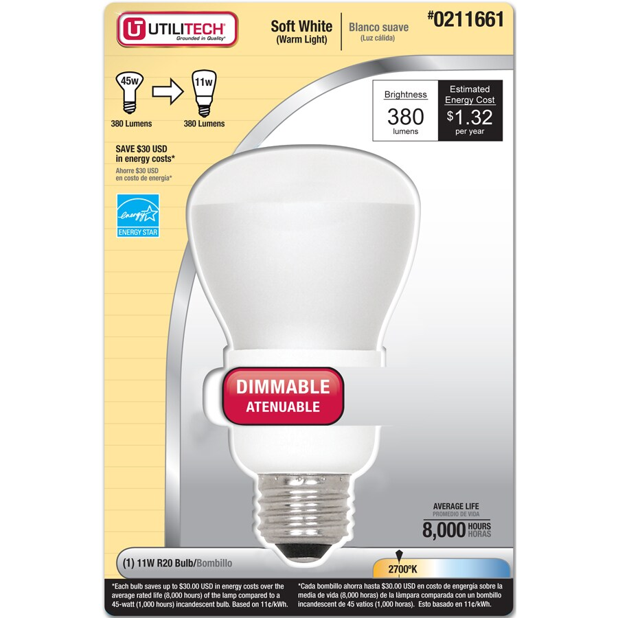 Utilitech 45W Equivalent Dimmable Soft White R20 CFL Light Bulb