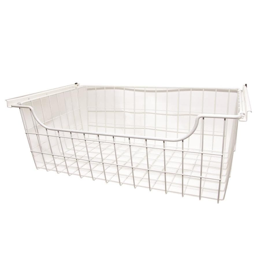Easy Track 24-in x 8-in x 14-in White Wire Basket
