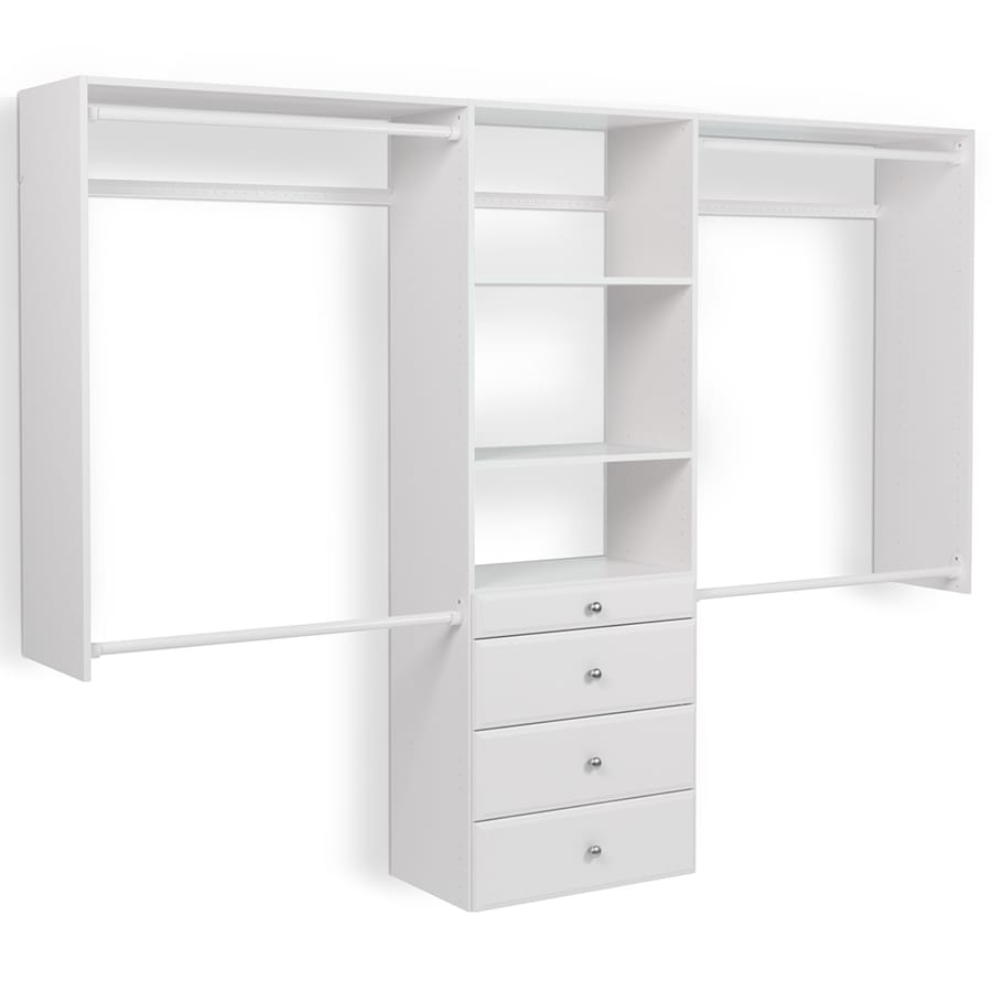 easy track 8 ft w x 7 ft h white wood closet kit at. Black Bedroom Furniture Sets. Home Design Ideas