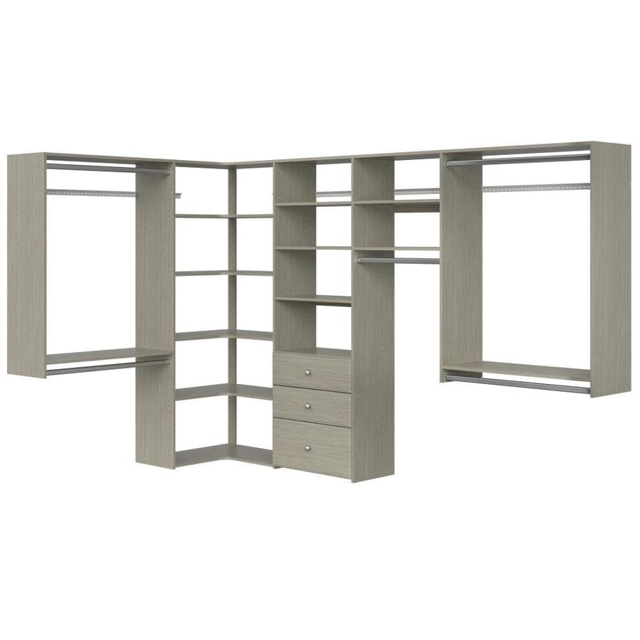 Easy Track 6 5 Ft To 9 5 Ft W X 7 Ft H Weathered Grey Wood Closet Kit In The Wood Closet Kits Department At Lowes Com