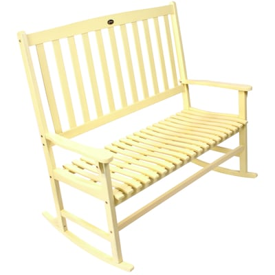 Yellow Wood Slat Seat Outdoor Rocking Chair At Lowes