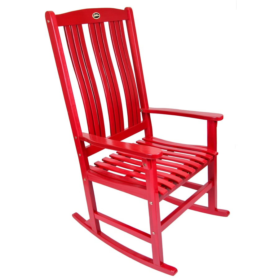 Exceptionnel Red Wood Slat Seat Outdoor Rocking Chair
