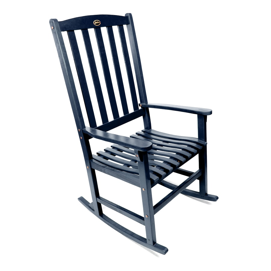 Wooden rocking chairs lowes - Navy Wood Slat Seat Outdoor Rocking Chair