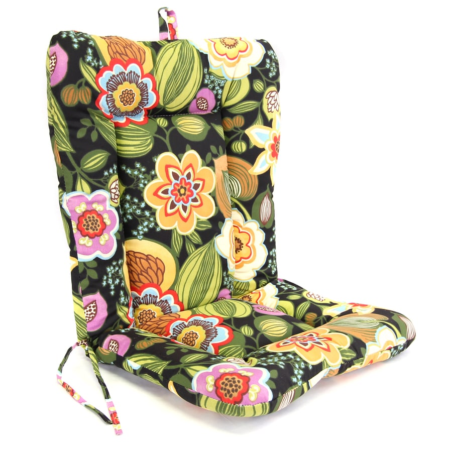 Gomer Black Tie Tropical Standard Patio Chair Cushion