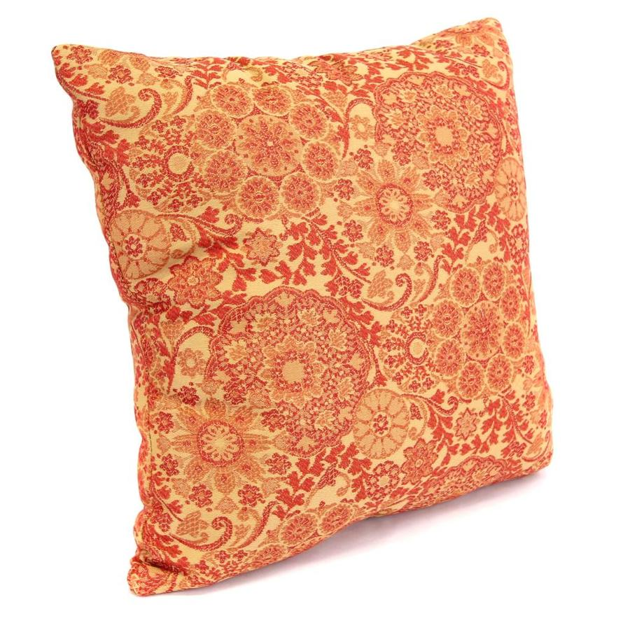 Marrakech Salsa and Floral Square Throw Pillow Outdoor Decorative Pillow