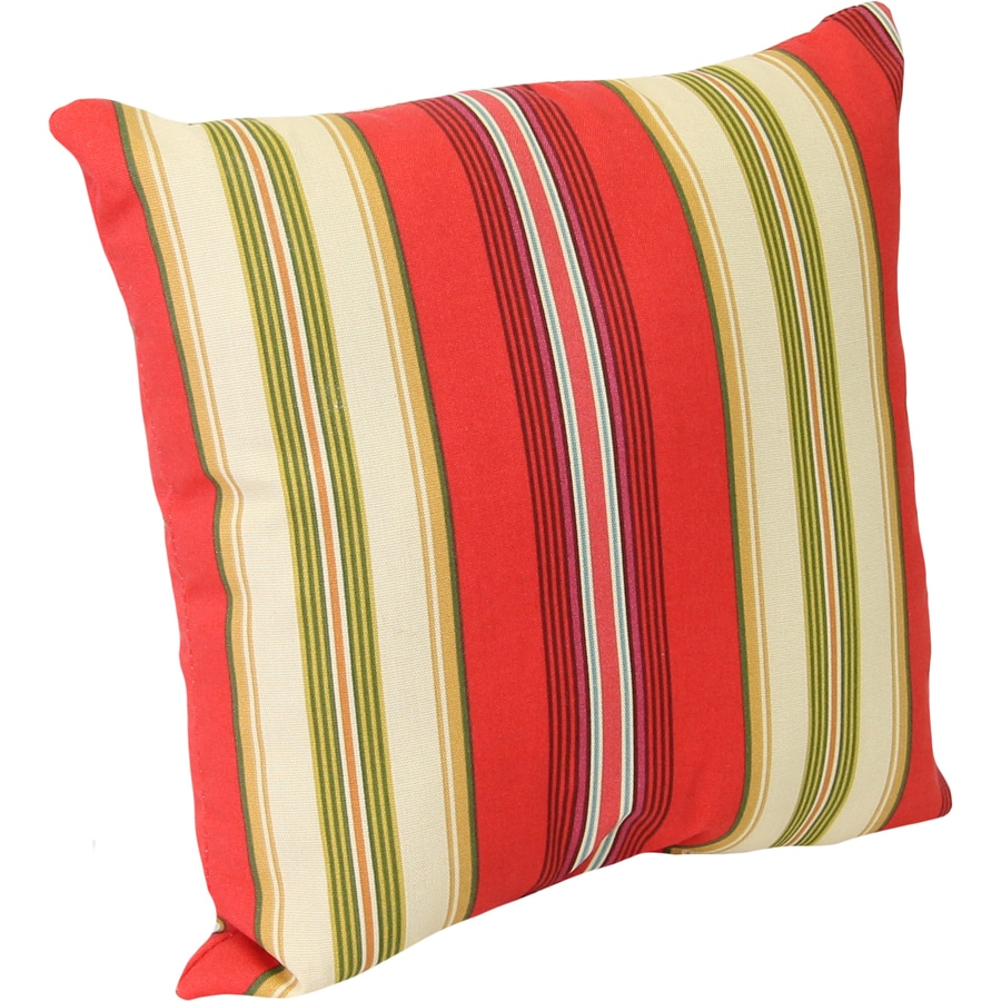 Gamali Lipstick and Striped Square Throw Pillow Outdoor Decorative Pillow