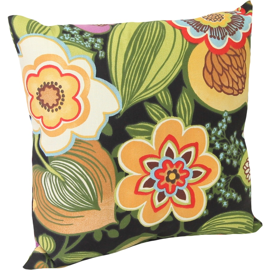 Black Tie Floral Square Outdoor Decorative Pillow