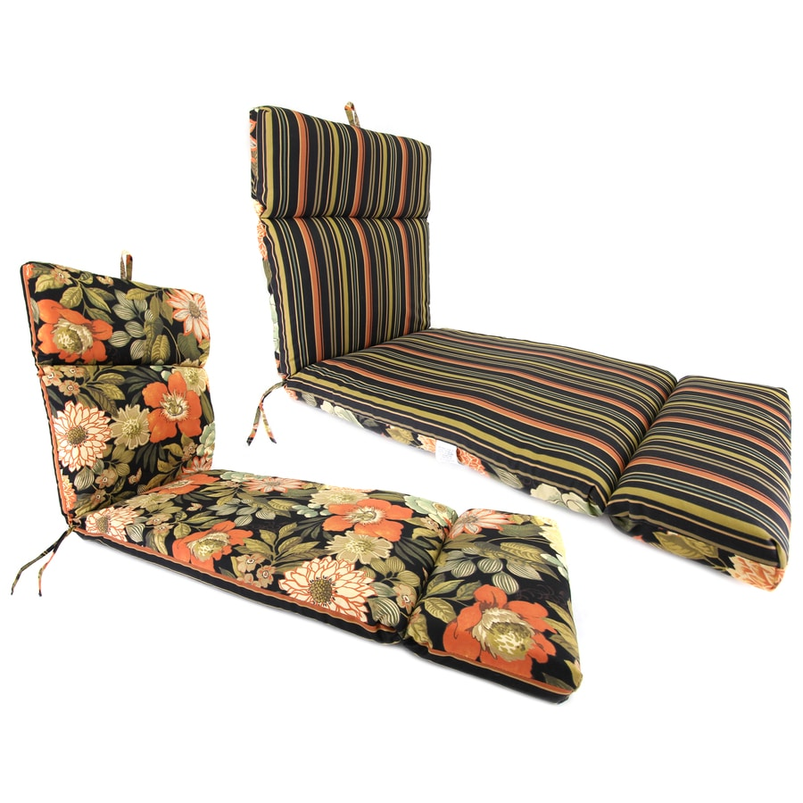 Jordan Manufacturing Jolene Lava/Jolene Stripe Lava Floral Standard Patio Chair Cushion for Chaise Lounge