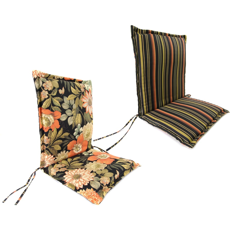 Jordan Manufacturing Jolene Lava/Jolene Stripe Lava Floral Standard Patio Chair Cushion