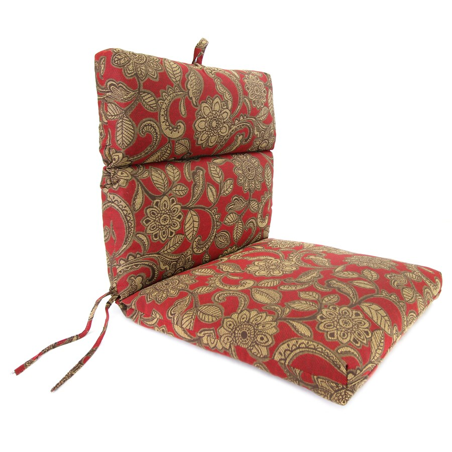 Jordan Manufacturing Veranda Crimson Paisley Standard Patio Chair Cushion