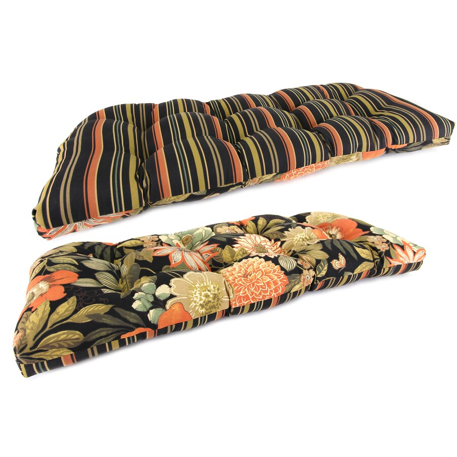 Jordan Manufacturing Jolene Lava/Jolene Stripe Lava Floral Patio Bench Cushion for Patio Bench