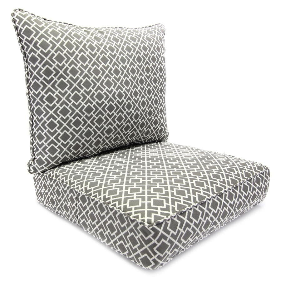 Jordan Manufacturing Poet Gray Geometric Deep Seat Patio Chair Cushion for Deep Seat Chair