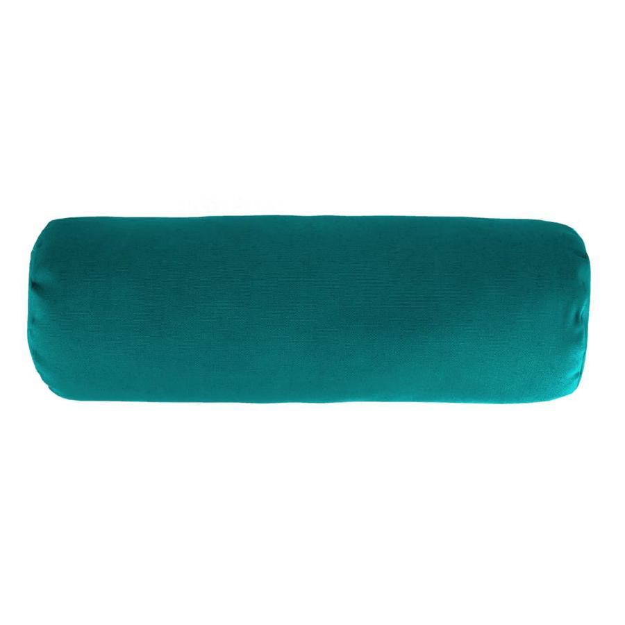 Sunbrella Dupione Deep Sea and Solid Rectangular Bolster Pillow Outdoor Decorative Pillow