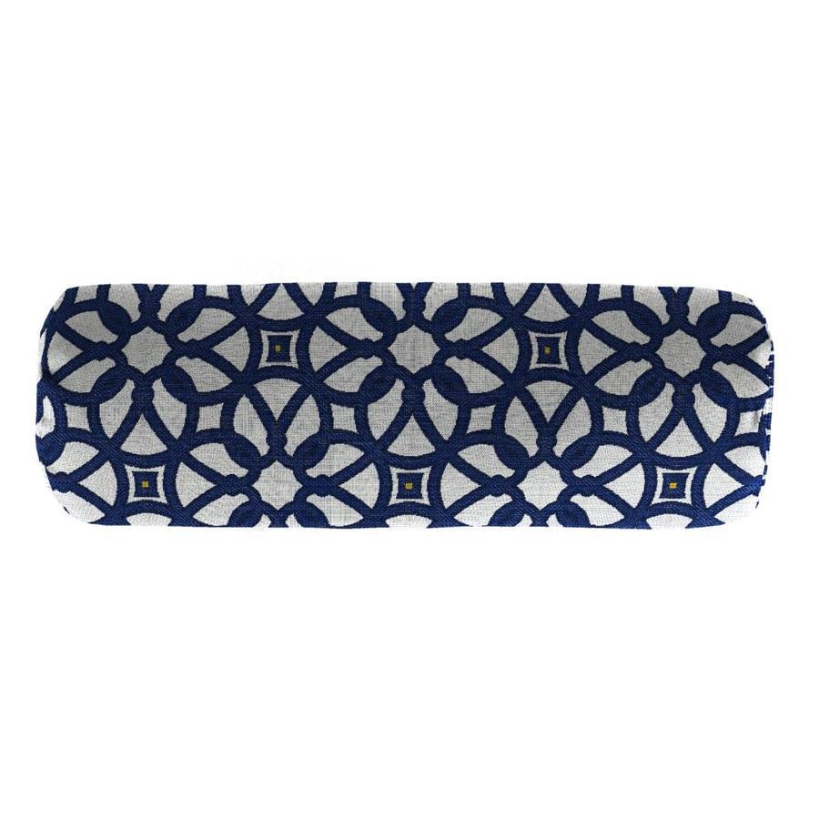 Sunbrella Luxe Indigo and Geometric Rectangular Bolster Pillow Outdoor Decorative Pillow
