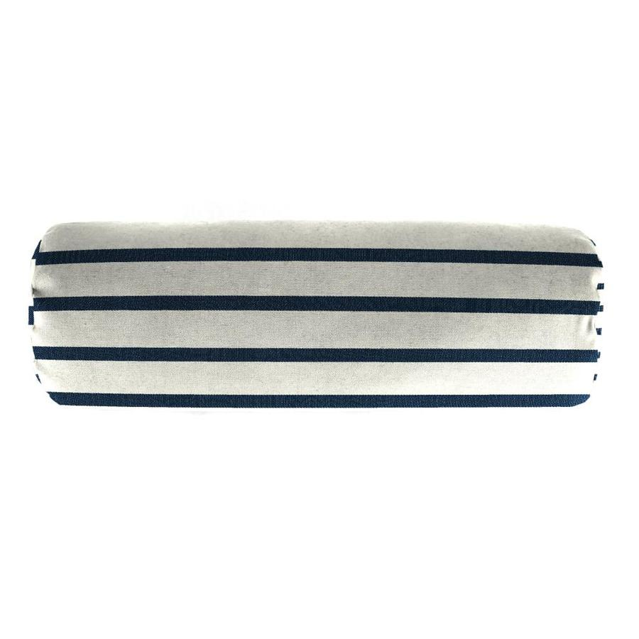 Sunbrella Lido Indigo and Striped Rectangular Bolster Pillow Outdoor Decorative Pillow