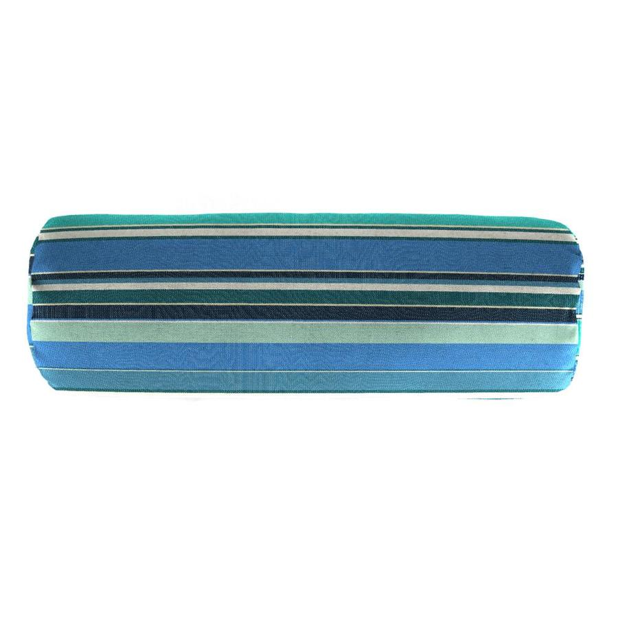 Sunbrella Dolce Oasis and Striped Rectangular Bolster Pillow Outdoor Decorative Pillow