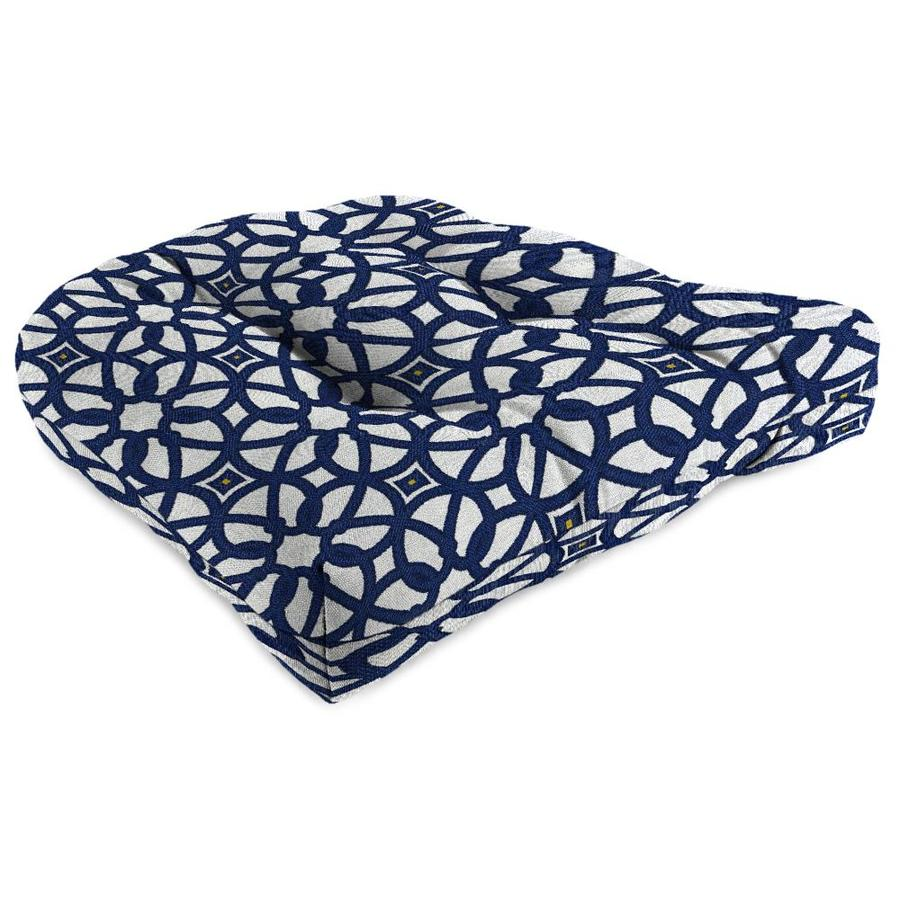 Sunbrella Luxe Indigo Geometric Standard Patio Chair Cushion