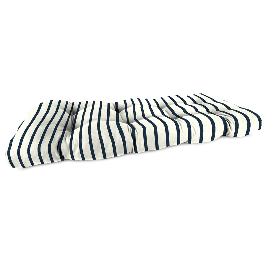 Sunbrella Lido Indigo Stripe Patio Loveseat Cushion for Loveseat
