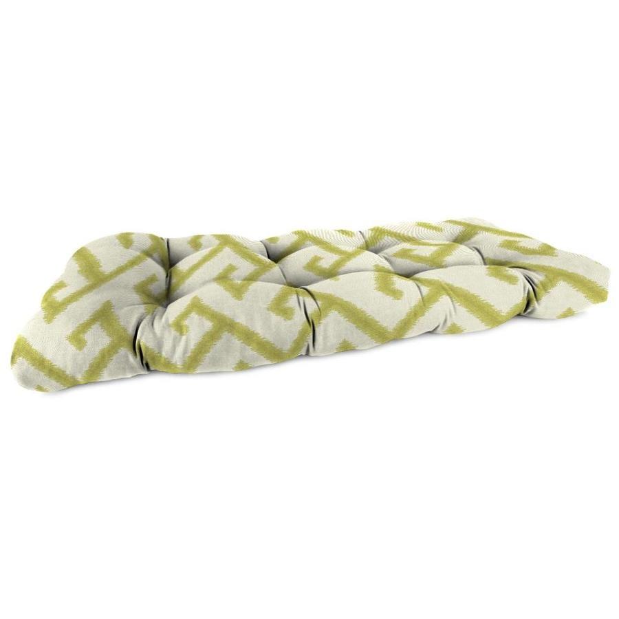 Sunbrella El Greco Avocado Geometric Patio Loveseat Cushion for Loveseat