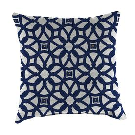 83836ee808e Jordan Manufacturing 2-Pack Luxe Indigo and Geometric Square Throw Pillow  Outdoor Decorative Pillow