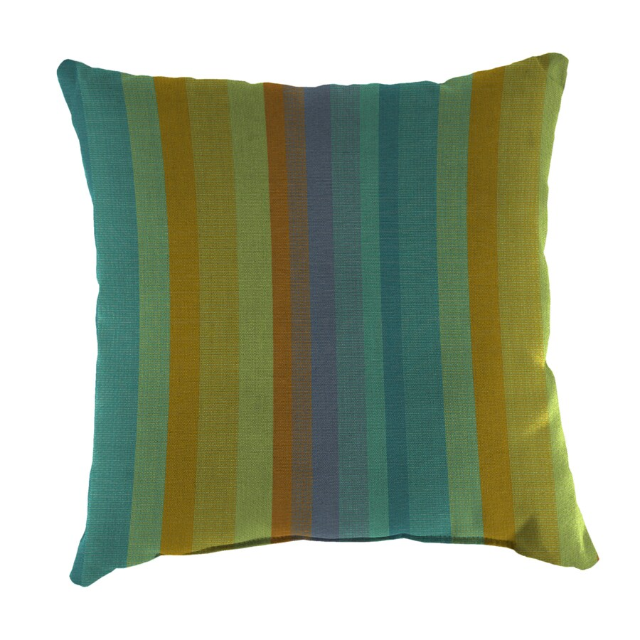 Sunbrella 2-Pack Astoria Lagoon Stripe Square Outdoor Decorative Pillow