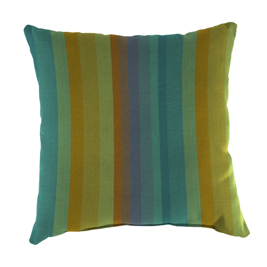 Shop Sunbrella 2-Pack Astoria Lagoon and Striped Square Throw Pillow Outdoor Decorative Pillow ...