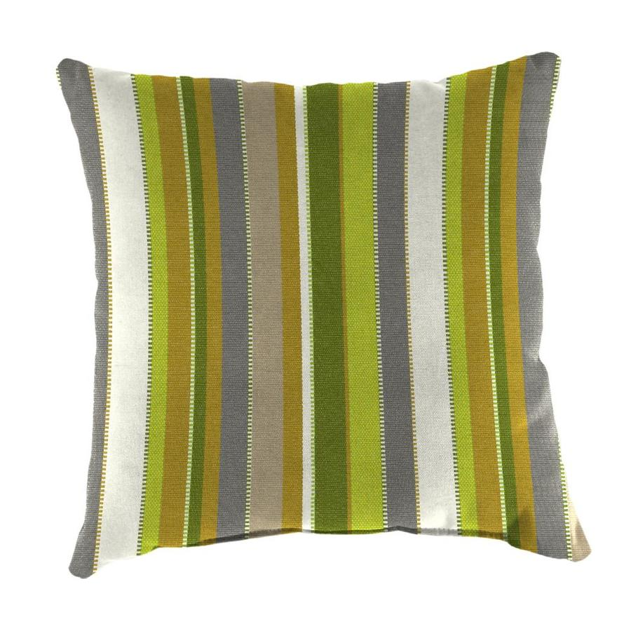 Sunbrella 2-Pack Carousel Limelite and Striped Square Throw Pillow Outdoor Decorative Pillow