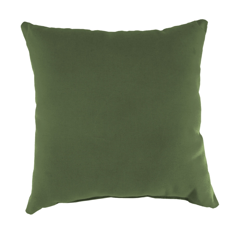 Sunbrella 2-Pack Canvas Fern and Solid Square Throw Pillow Outdoor Decorative Pillow